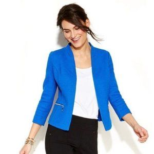 Alfani Textured Blue Open Front Blazer